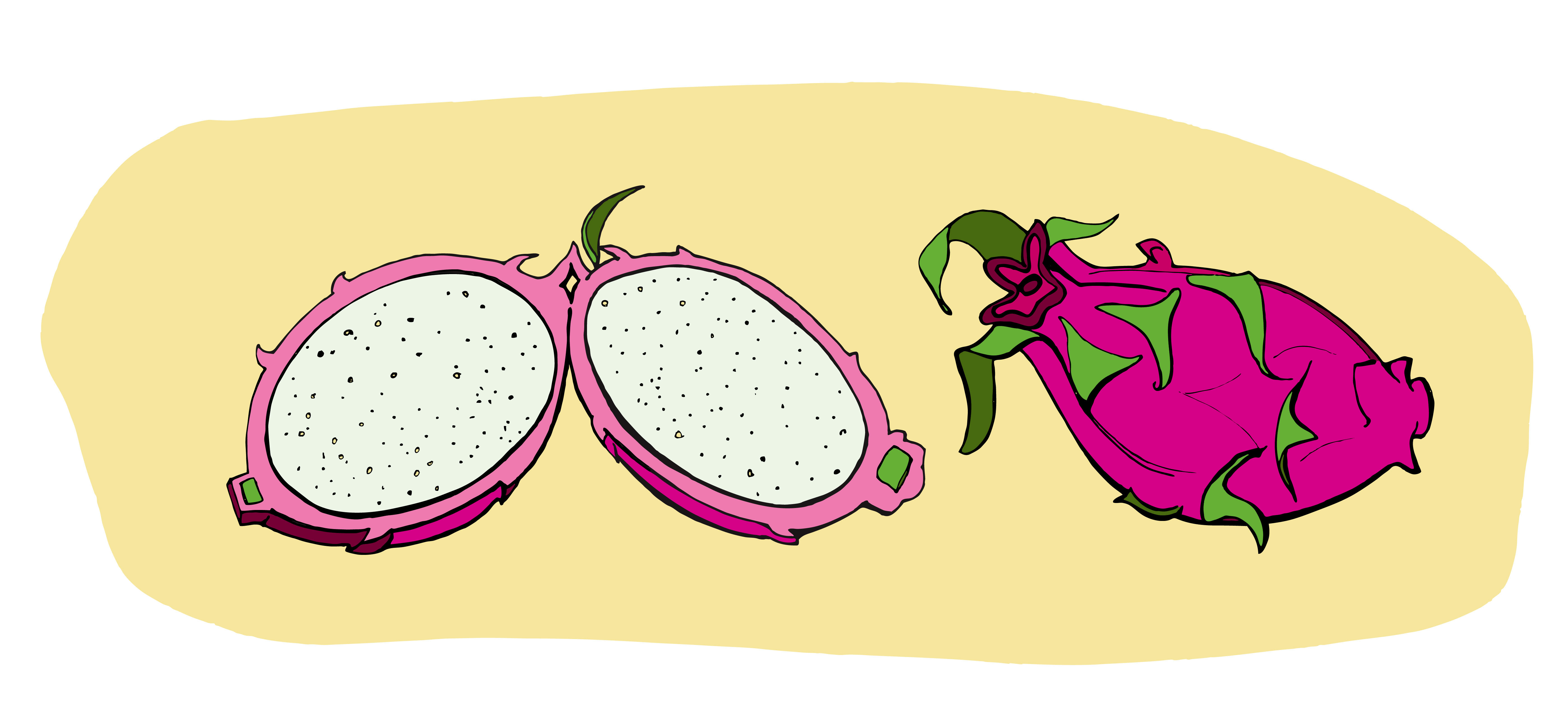 The Dragon Fruit Has A Beautiful White, Juicy Interior Speckled With Tiny  Black Seeds To Eat It You Slice It Half Lengthwise And Run A Spoon The