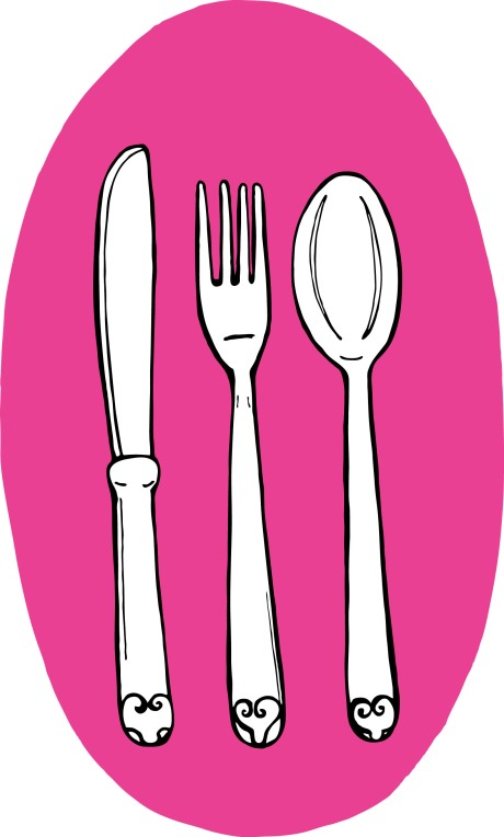 spoon, fork, and knife