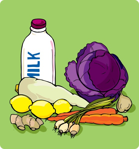 veggies and milk