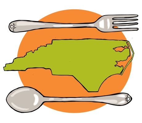 North Carolina with fork and spoon