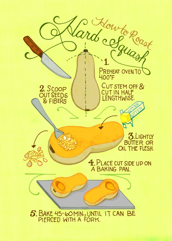 How to roast hard squash
